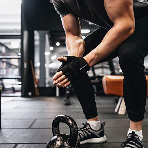 GYMGEARS® Guantes de Entrenamiento para Mujeres y Hombres - Guantes Fitness para Entrenamiento Fuerza, Culturismo, con Pesas y Entrenamiento Crossfit - Unisex (L: 22-24 cm, Negro)