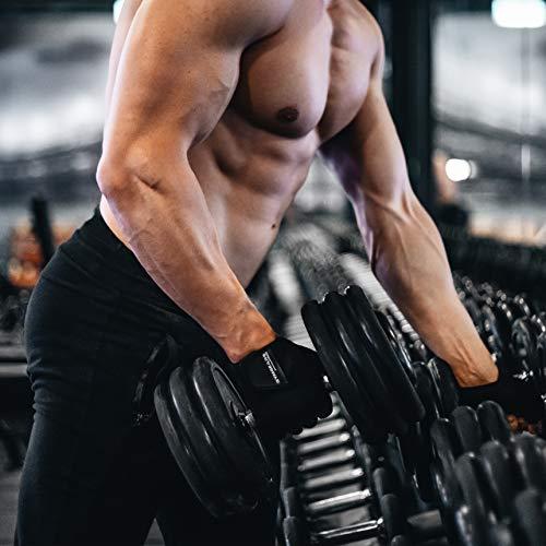 GYMGEARS® Guantes de Entrenamiento para Mujeres y Hombres - Guantes Fitness para Entrenamiento Fuerza, Culturismo, con Pesas y Entrenamiento Crossfit - Unisex (M: 20-22 cm, Negro)