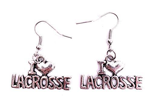 H-Customs Me Encanta el Equipo Deportivo de la Bola de Lacrosse, Pendientes, Colgante de Metal Plateado.
