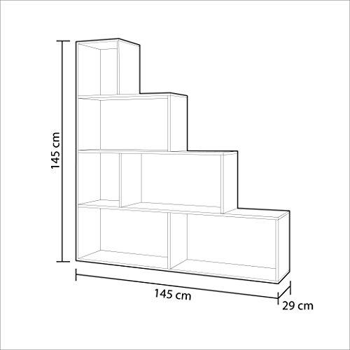 Habitdesign 002255F - Estantería Decorativa, Acabado en Roble Canadian Medidas: 145 cm (Largo) x 145 cm (Alto) x 29 cm (Fondo)
