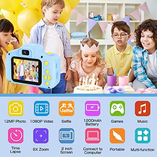 HaiGeng Cámara para Niños 12MP Selfie Cámara Digital 1080P HD Video Cámara Infantil 32GB TF Tarjeta, Estuche de Transporte, Batería Recargable 1200 mAh,2 Pulgadas, Regalos Juguete - Azul