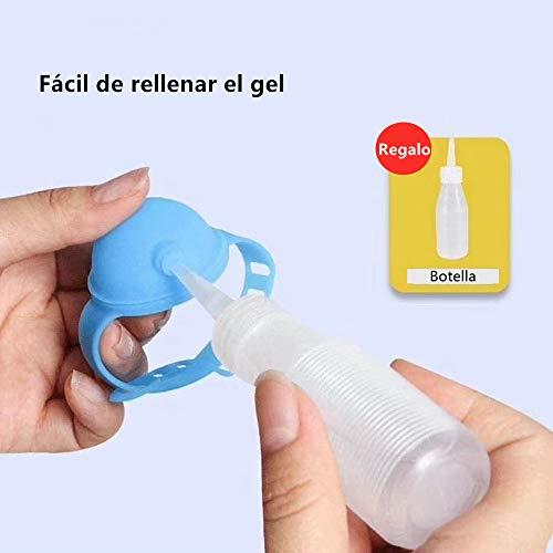 Haioo 3 Piezas de Pulseras Dispensadoras de Gel Desinfectante de Manos con Botella para Recargar, Distintos Colores Pulsera Dispensadora de Líquido de Silicona para Niños y Adultos (Color 2)