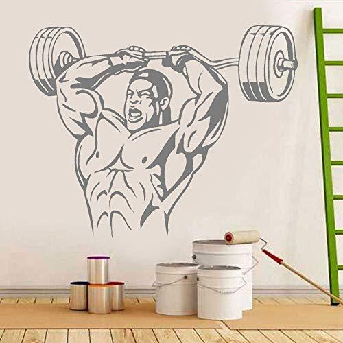Halterofilia gimnasio pared arte pegatina músculo deportes hombre pared vinilo calcomanía fuerza edificio entrenamiento vinilo Mural decoración del hogar pared pegatina A2 72x57cm