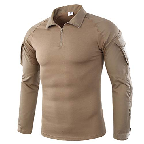 Haobing Hombres Táctico Camisa Manga Larga Respirable Camuflaje Deportes Shirt al Aire Libre Combate Camiseta con Cremallera (Caqui, CN M)