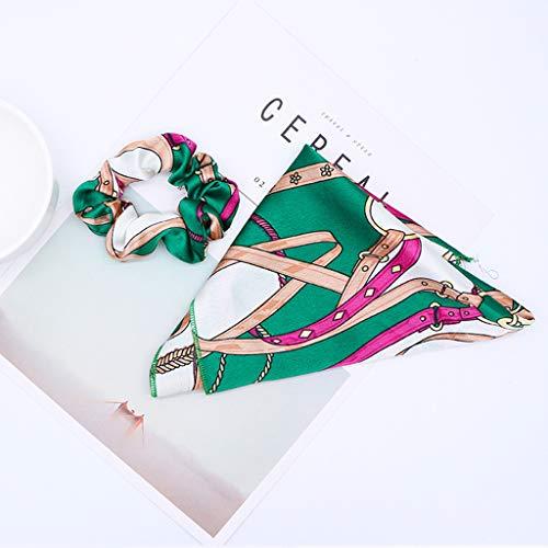 Haptian Señoras de Las Mujeres Cinta Larga Intestino Largo Cuerda de Pelo Pañuelo Bufandas Bowknot Vintage Titular de Cola de Caballo de Metal de Color Patrones de Cadena Scrunchies(Verde-1conjunto)