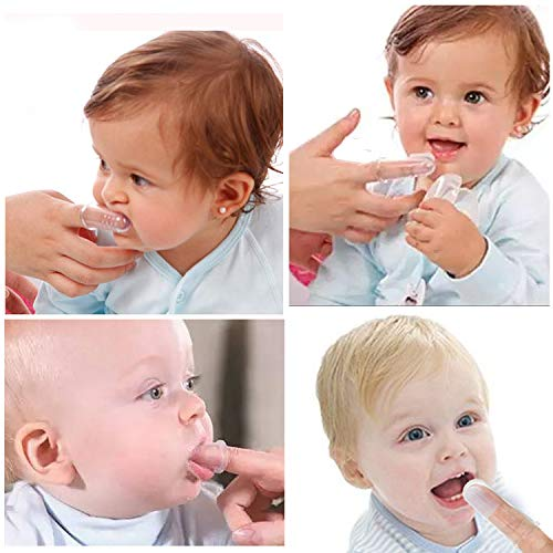 HBselect 6 Piezas Multicolor Cepillo Dientes Bebe Silicona Con Caja Cepillo Dedo Bebe Para 0-24 Meses