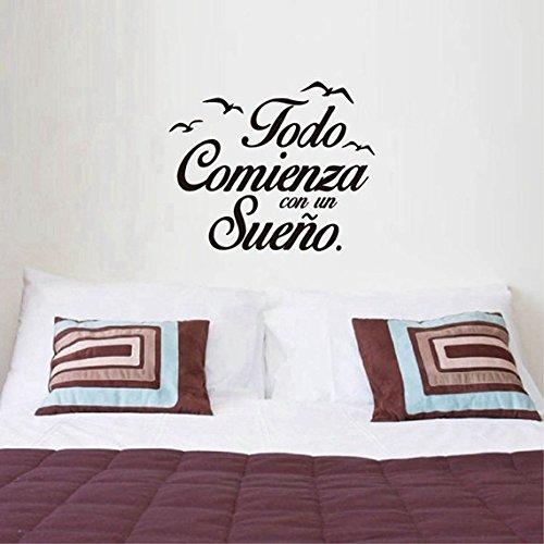 Healthy Clubs Pegatina Todo Comienza con un Sueño para Dormitorios, Pegatina Cita Inspiradora para Cuartos, Dormitorio, Cocina, 55 X 45 cm (3)