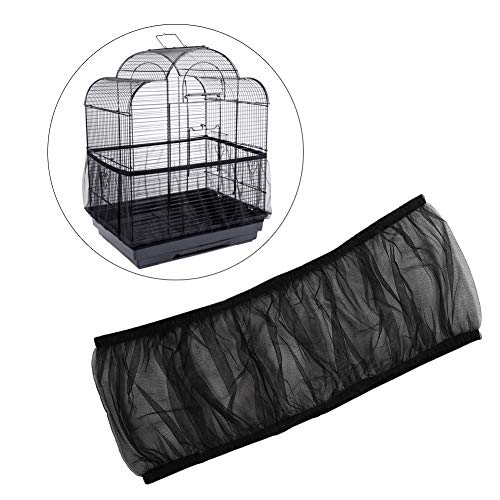 HEEPDD Cubierta de Jaula de pájaros, Malla de Nylon Universal Mascotas Aves Loro Jaula Cobertor de Semillas Cubierta Concha Suave Ventilada Jaula de pájaros Falda L Tamaño (Negro)
