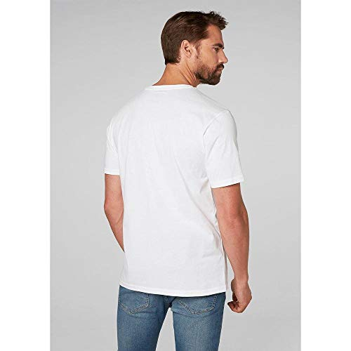 Helly Hansen T-Shirt Camiseta de Manga Corta Hecha de algodón, con Logo HH en el Pecho, Hombre, Blanco, XL