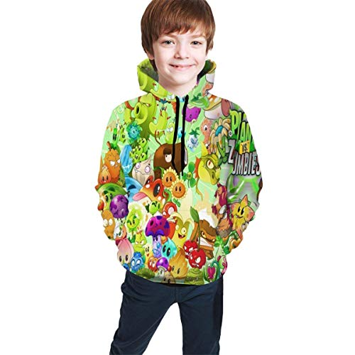 Hidend Sudaderas para Niña Niño,Sudadera con Capucha para Niños Plants Vs. Zombies Fit Teen Hooded Sweater Black