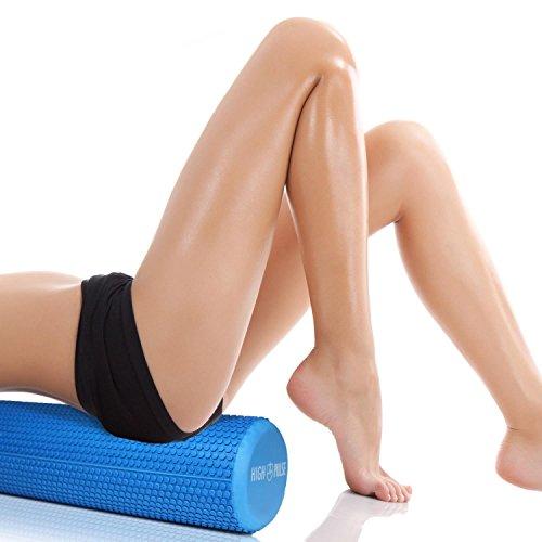 High Pulse Rodillo Pilates 90x15 cm + Póster con Ejercicios + Banda Elástica - Rodillo de Espuma para músculos, Fitness o Masaje de Corporal (Azul)