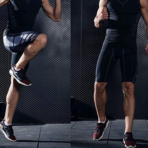 Hivexagon Pantalones Cortos de Compresión de Media Pierna para Deportes, Correr y Entrenamiento de Gimnasio SM008BUM
