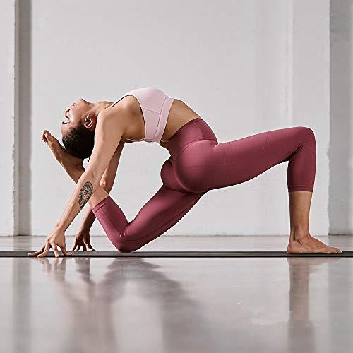 HLTPRO Pantalones de yoga para mujer con bolsillos para teléfono Capri Leggings ropa de entrenamiento con cintura alta y control de barriga Ideal correr deportes atletismo y fitness moda Medium Rosado