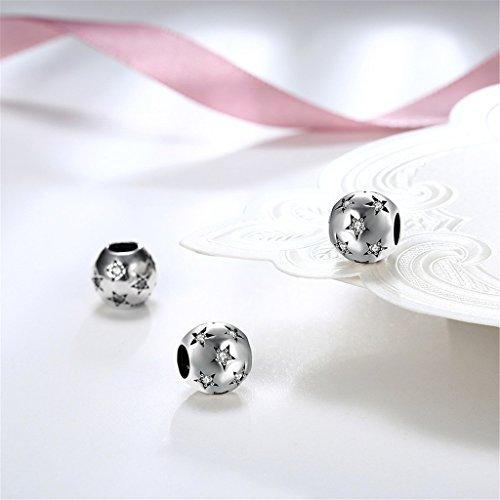 HMILYDYK Cuenta redonda de plata de ley 925 con cristales de Swarovski Elements blancos en forma de estrella, compatible con pulseras pandora