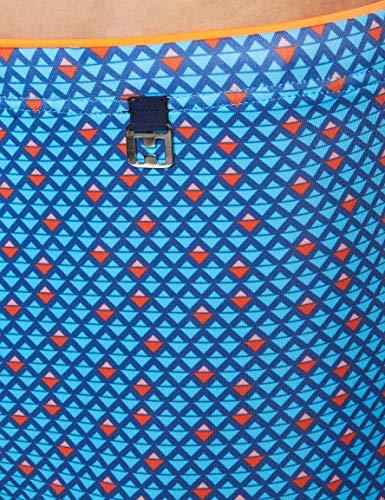 HOM Bora Swim Shorts Bóxer, Azul (Micro Motif Géométrique/Marine/Bleu/Orange Et Rose 00bi), X-Large para Hombre