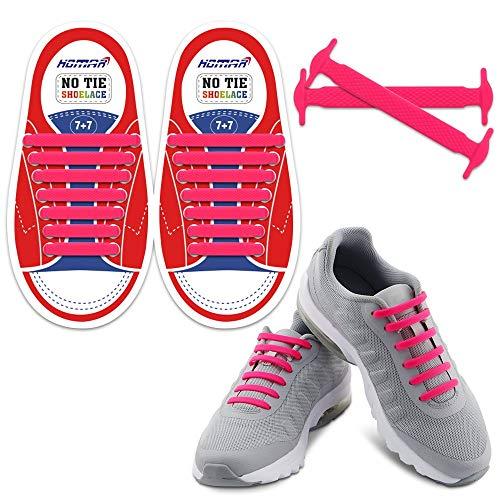 Homar sin corbata Cordones de zapatos para niños y adultos Impermeables cordones de zapatos de atletismo atlética de silicona elástico plano con multicolor de los zapatos del tablero Sneaker boots (Kid Size Pink)
