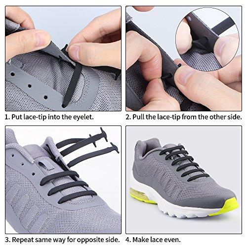 Homar sin corbata Cordones de zapatos para niños y adultos Impermeables cordones de zapatos de atletismo atlética de silicona elástico plano con multicolor de los zapatos del tablero Sneaker boots (Adult Size Pink)