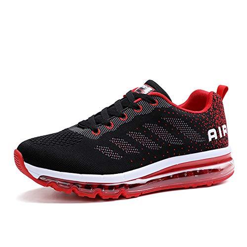 Hombre Mujer Zapatillas de Deportes Zapatos Sneakers Running Deportivos Aire Libre para Correr Calzado Black Red 38