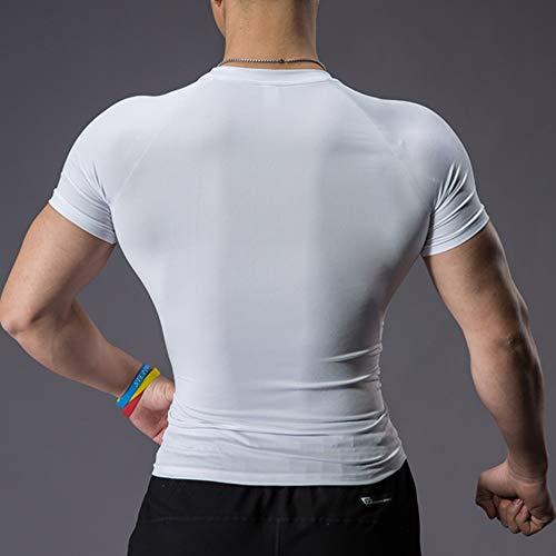 Hombres Apretado Compresión Capa Base Manga Corta Camiseta Culturismo Tops Poliéster y Spandex