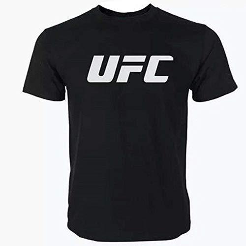 Hombres Camiseta Deportiva De UFC Impreso Alrededor del Cuello Marea Marca Deportiva De Manga Corta De Verano Superior Ocasional Black-M