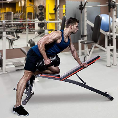 HOMCOM Banco de Mancuerna Plegable Inclinable Banco de Pesas Musculación Multifuncional para Entrenamiento Completo Máquina de Fitness Gimnasio Hogar