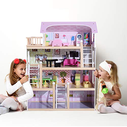HOMCOM Casa de Muñecas con Muebles Mobiliario Casita Muñeca Jueguetes Madera con 13 Accesorios incluidos y 4 Niveles Color Rosa