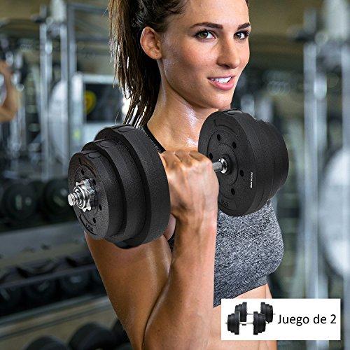 HOMCOM Juego de Mancuernas Pesas de Fitness 40KG Ajustable Profesionales Gimnasio Doméstico y Musculación con Barra Acero y Discos