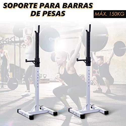 HOMCOM Soporte Estante Ajustable Barra Levantamiento Pesas Gimnasio MAX 150 KG Acero (Blanco)