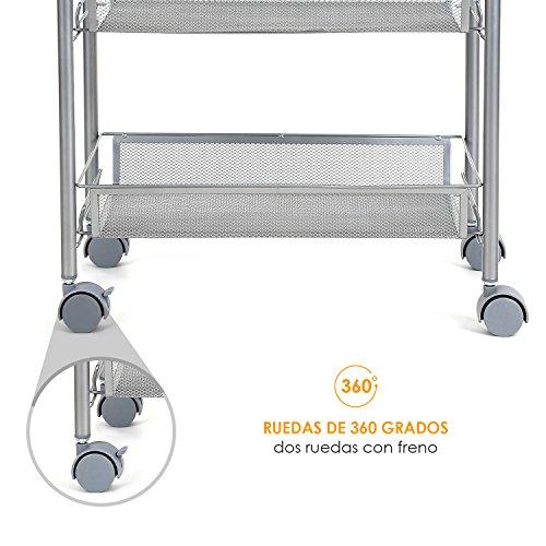 HOMFA Carrito Auxiliar con Ruedas y 3 Bandejas de Malla Metálica para Cocina Baño salón Plata 45x27x63cm