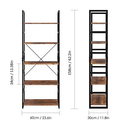 Homfa Estantería de Escalera Estantería Metálica para Baño Salón Dormitorio con 5 Niveles de Madera Vintage y Negro 60x30x158cm