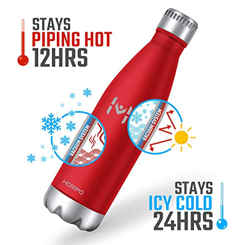 HOMPO BotelladeAguadeAceroInoxidable BotellaTermica350ml, BotellaSinBpa&EcoFriendly, Mantiene Bebidas frías por 24h y Calientes por 12h, AdecuadaparaViaje, Deporte, Bicicleta, Gimnasio