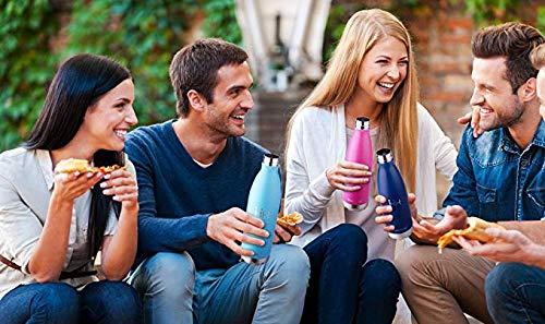 HoneyHolly Botella de Agua Acero Inoxidable 350/500/650/750ml, Aislamiento de Vacío de Doble Pared, Botellas de Frío/Caliente, sin bpa Botella Reutilizable para niños Sport Gimnasio Trekking Bicicleta