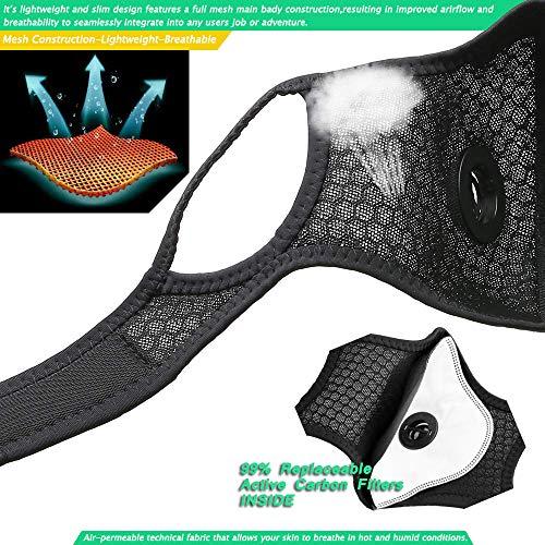 HONYAO M contra el Polvo con 4 Filtros de Carbón Activado Adicionales, Prevenir alergia, M Lavable para Motocicletas de Conducción Entrenamiento, Funcionamiento, el Ciclismo - Negro