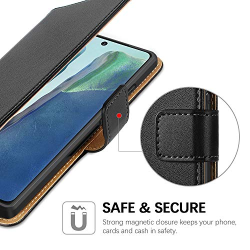 HOOMIL Funda para Samsung Note 20, Funda Samsung Galaxy Note 20, Funda de Cuero PU Premium Carcasa para Samsung Galaxy Note20 4G/Galaxy Note20 5G (Negro)