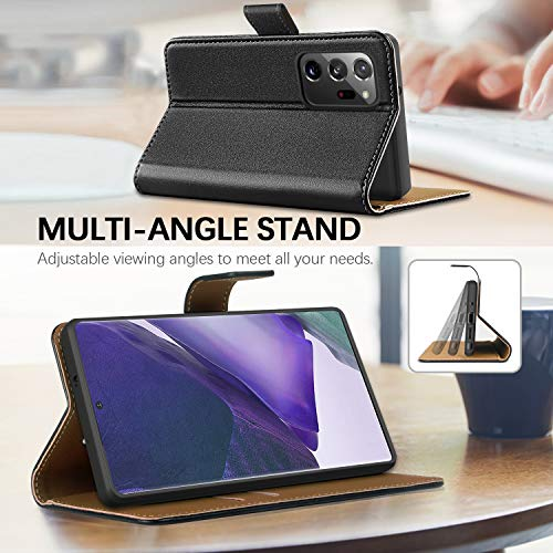 HOOMIL Funda para Samsung Note 20 Ultra, Funda Samsung Galaxy Note 20 Ultra, Funda de Cuero PU Premium Carcasa para Samsung Galaxy Note20 Ultra 5G (Negro)