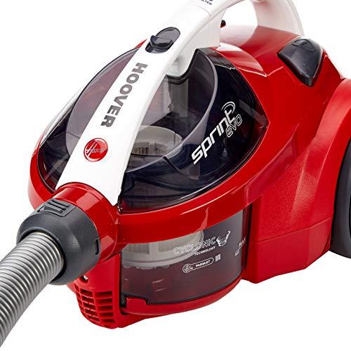 Hoover Sprint Evo SE51 - Aspiradora sin bolsa, ciclónico, Cepillo especial suelos de parquet, suelos duros y alfombras, Filtro EPA, 700W, Depósito 1,5L, 80dBA, Cable 7,5m, Plástico, Rojo, clase A
