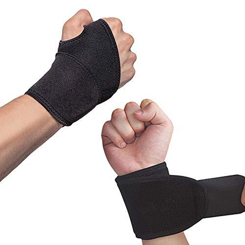 Hually Muñequeras Deportivas Ajustable, (1 Par) Transpirable Neopreno Ayuda a con Túnel Carpiano RSI Artritis Tendinitis y Dolores de Muñequeras (Talla Única se Adapta a la Izquierda o Derecha)