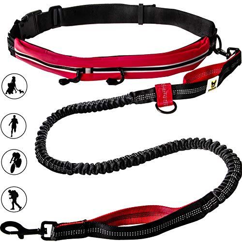 Hundefreund Correa con cinturón Manos Libres para Perros medianos y Grandes Canicross Correa elástica de 120 a 180 cm