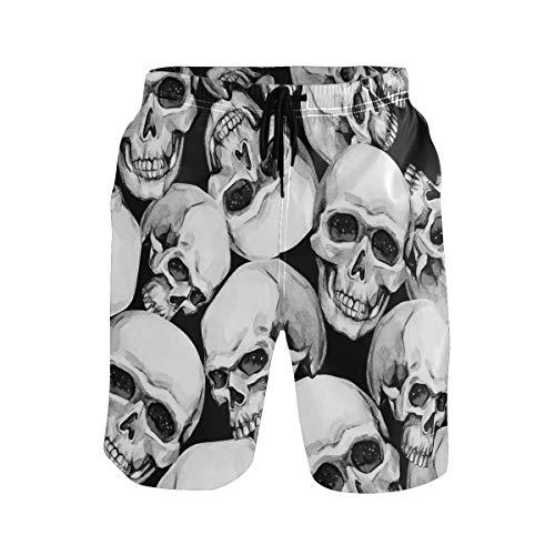 Hunihuni Pantalones cortos de playa para hombre, diseño de calavera, traje de baño con forro de malla con bolsillo Multicolor multicolor L