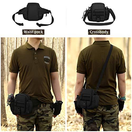 Huntvp 2in1 Táctical Bolso de Cintura Bolsa de Riñonera Mochila de Bandolera Estilo Militar Molle Bolsa de Múltiple Función Impermeable para Aire Libre Correr Senderismo Ciclismo Camping, Negro