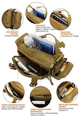 Huntvp Táctical Bolsa de Riñonera Bandolera Cinturón Estilo Militar Molle 3 Vías de Llevar Bolso de Cintura Impermeable