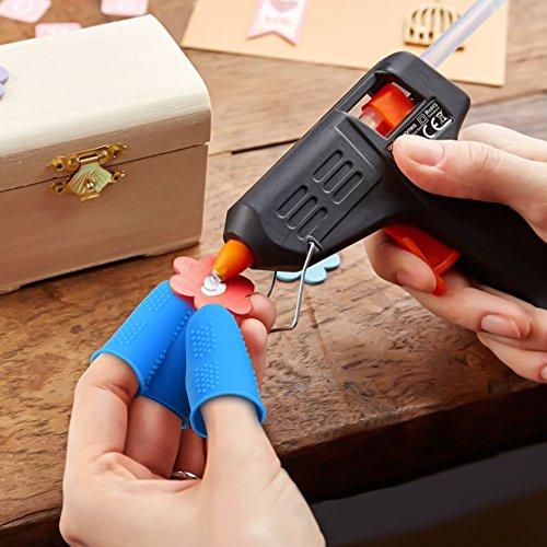 Hydream 12pcs Protector de Dedos de Silicona Tapas de Dedos, Protección de Dedo para Pistola de Pegamento Caliente, Costura, Adhesivos, Cera, Resina, Scrapbooking, 3 Tamaños (Azul Verde)