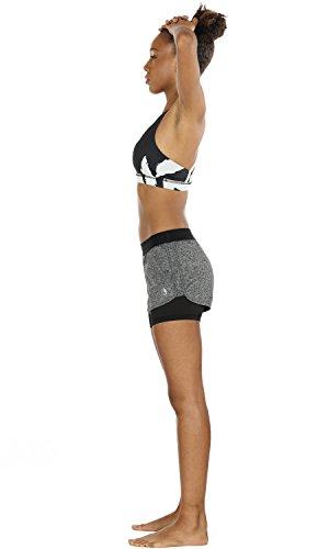 icyzone 2 en 1 Pantalón Corto para Mujer para Correr, Pack de 2 (M, Carboncillo/Azul Real)