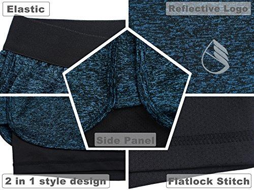 icyzone 2 en 1 Pantalón Corto para Mujer para Correr, Pack de 2 (S, Carboncillo/Azul Real)