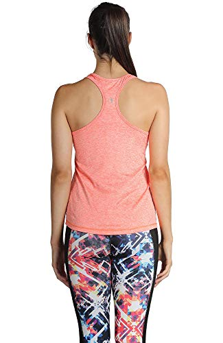 icyzone Camiseta de Fitness Deportiva de Tirantes para Mujer, Pack de 3 (L, Negro/Granito/Naranja)