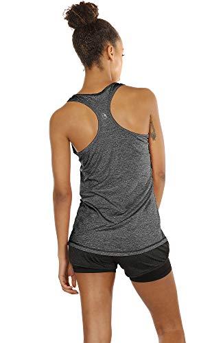 icyzone Camiseta de Fitness Deportiva de Tirantes para Mujer, Pack de 3 (M, Carboncillo/Jam/Rosado)