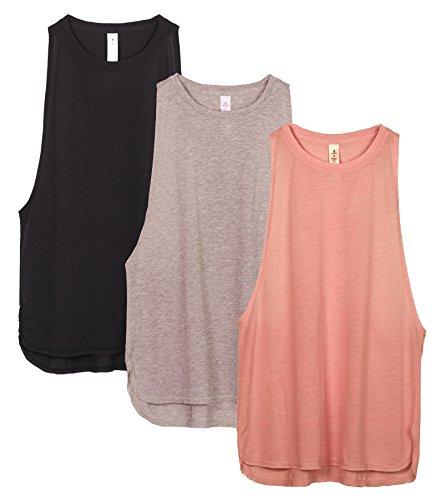 icyzone Sueltas y Ocio Camiseta sin Mangas Camiseta de Fitness Deportiva de Tirantes para Mujer(Paquete de 3) (S, Negro/Beige/Rubor Pálido)