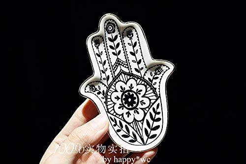 IGLZ Europa Mano de cerámica del Plato Creativo de Palm Forma Personalidad Bandeja baratija for la decoración casera Exquisita joyería Placa Mejor Regalo for los Amigos Femeninos