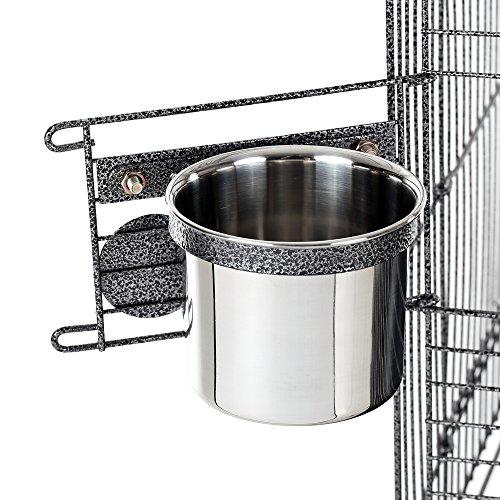 iKayaa Jaula de Metal para P¨¢jaro Mascotas con Taz¨®n de Acero Inoxidable + Ruedas Bloqueables¡