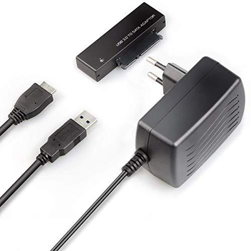 Inateck USB 3.0 a SATA Adaptador Convertidor para 2.5/3.5 Pulgadas Disco Duro HDD SSD con 12V/2A Fuente de Alimentación, Negro